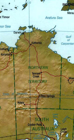 Large Map of the Northern Territory, Australia.