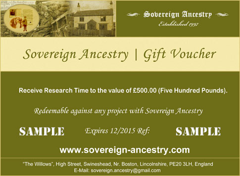 Sovereign Ancestry Lincolnshire - Gift Voucher