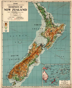 Map of New Zealand.